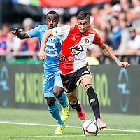 ROTTERDAM - Feyenoord - Willem II , Voetbal , Seizoen 2015/2016 , Eredivisie , Stadion de Kuip , 13-09-2015 , Speler van Feyenoord Bilal Basaçikoglu (r)in duel met Willem II speler Lesly de Sa (l)