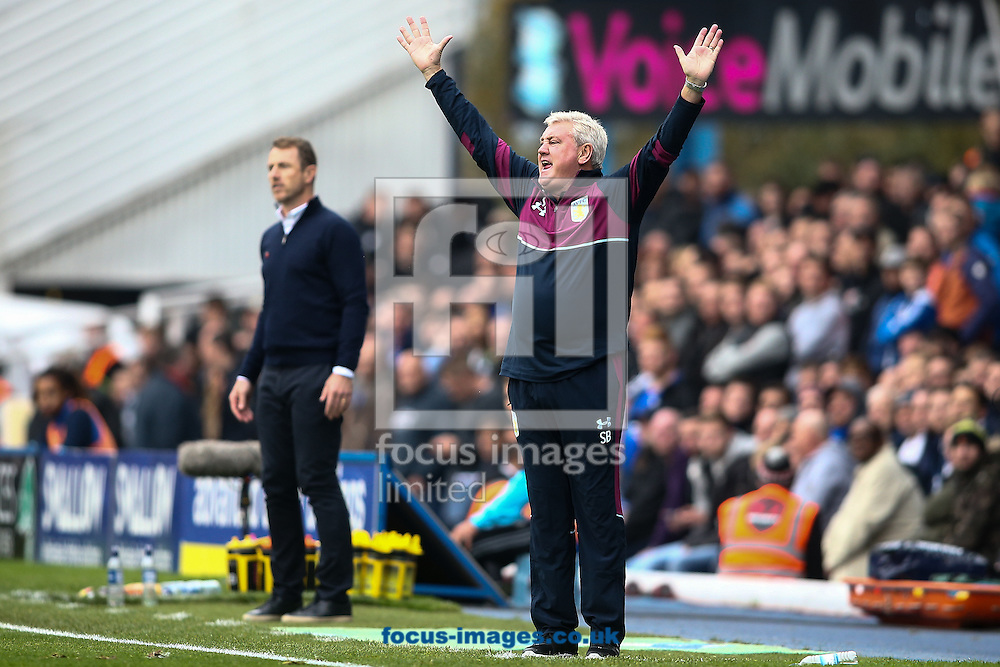 Aston Villa manager Steve Bruce (right) appeals to the referee during the Sky Bet Championship match at St Andrews, Birmingham<br /> Picture by Andy Kearns/Focus Images Ltd 0781 864 4264<br /> 30/10/2016