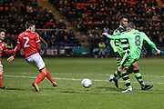 Forest Green Rovers Dayle Grubb(8) shoots at goal scores a goal 3-1 during the EFL Sky Bet League 2 match between Crewe Alexandra and Forest Green Rovers at Alexandra Stadium, Crewe, England on 20 March 2018. Picture by Shane Healey.