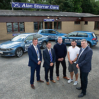 St Johnstone FC Manager Tommy Wright, Chairman Steve Brown, Roddy Grant and Assistant Manager Callum Davidson pictured with Alan Storrar owner of Alan Storrar Cars of Perth who are the new official sponsors of the football club for the 2016/17 season…23.06.16<br />Picture by Graeme Hart.<br />Copyright Perthshire Picture Agency<br />Tel: 01738 623350  Mobile: 07990 594431
