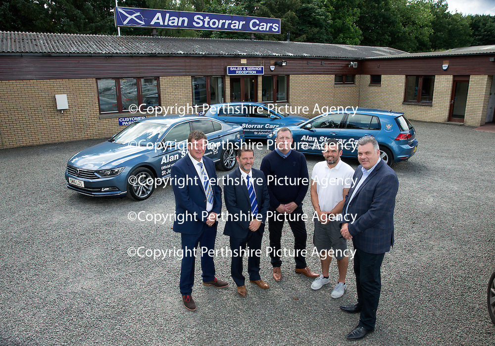 St Johnstone FC Manager Tommy Wright, Chairman Steve Brown, Roddy Grant and Assistant Manager Callum Davidson pictured with Alan Storrar owner of Alan Storrar Cars of Perth who are the new official sponsors of the football club for the 2016/17 season…23.06.16<br />