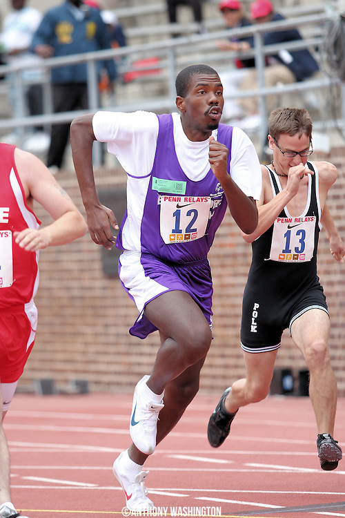 Melvin Lamb of Special Olympics Maryland Baltimore County competes in the Special Olympics 100m at the Penn Relays athletic meet on Friday, April 29, 2011 in Philadelphia, PA.