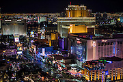 Aerial view of the Strip at night, Las Vegas, Nevada, USA