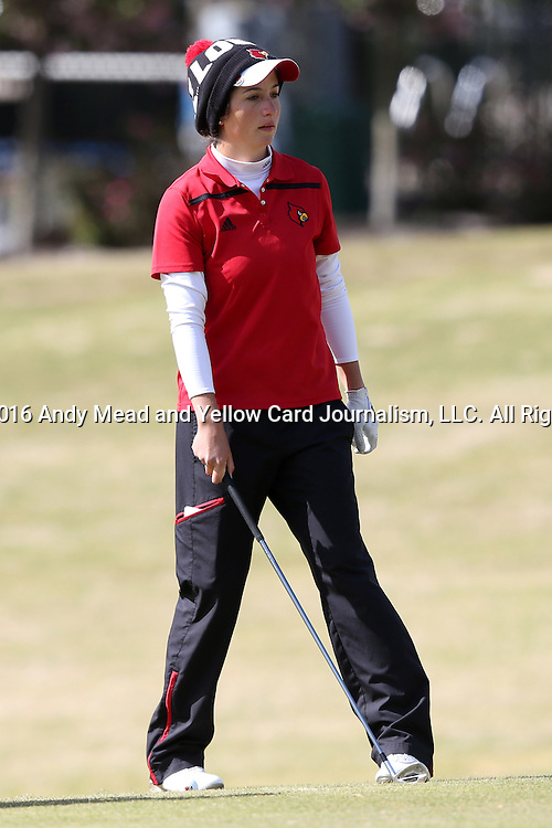 16 April 2016: Louisville's Laura Restrepo. The Second Round of the Atlantic Coast Conference's Womens Golf Tournament was held at Sedgefield Country Club in Greensboro, North Carolina.