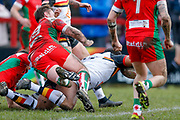 Bradford Bulls interchange Ross Peltier (17) scores a try to make the score 0-8 during the Betfred League 1 match between Keighley Cougars and Bradford Bulls at Cougar Park, Keighley, United Kingdom on 11 March 2018. Picture by Simon Davies.