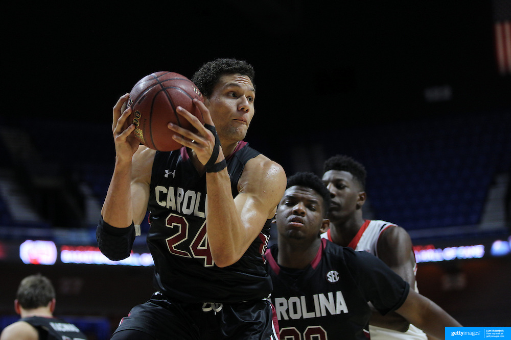 Michael Carrera, South Carolina, rebounds during the St. John's vs South Carolina Men's College Basketball game in the Hall of Fame Shootout Tournament at Mohegan Sun Arena, Uncasville, Connecticut, USA. 22nd December 2015. Photo Tim Clayton