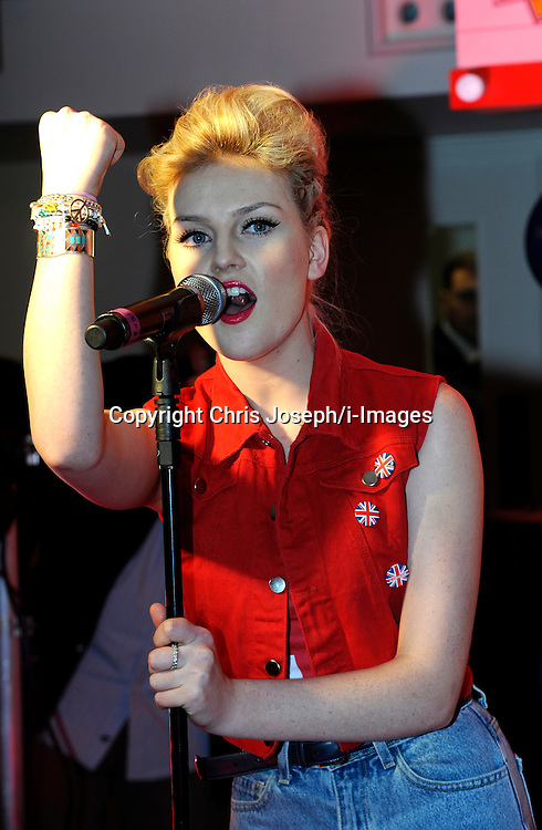 Perrie Edwards  of Little Mix Perform at the M&M Store, Leicester square, London. Thursday May 24, 2012. Photo By Chris Josepth/i-Images