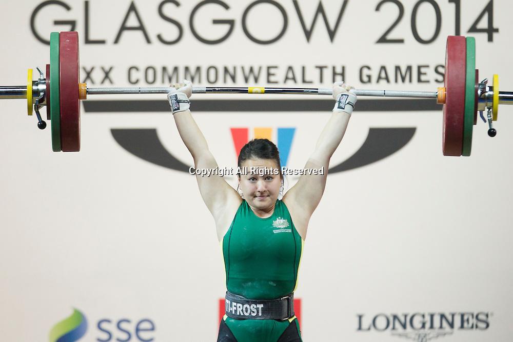 25.07.2014. Glasgow, Scotland. Glasgow Commonwealth Games. Women's 53kg Final. Socheata Be of AUS during a lift