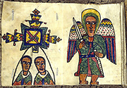 19th century Ethiopian manuscript showing angel with a sword (right) and two male figures (priests?).