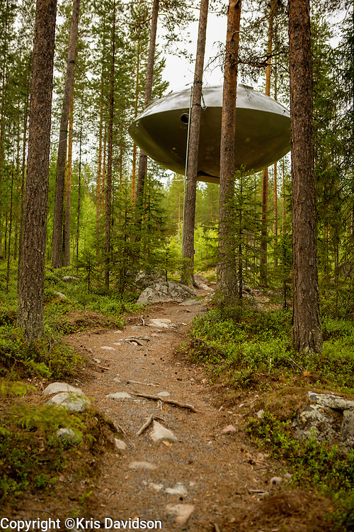 The UFO at the Treehotel in Harads, Sweden. Treehotel features  treerooms nestled up in the tree branches; with contemporary design in the middle of unspoiled nature, it is a unique experience.