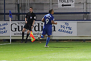 AFC Wimbledon striker Kweshi Appiah (9) celebrating after scoring goal to make it 1-0 during the EFL Trophy group stage match between AFC Wimbledon and Stevenage at the Cherry Red Records Stadium, Kingston, England on 6 November 2018.