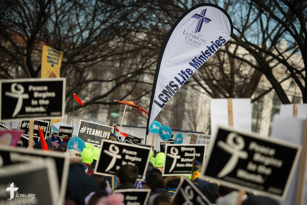 The LCMS Life Ministries banner is raised high during the 2015 March for Life on Thursday, Jan. 22, 2015, in Washington, D.C. LCMS Communications/Erik M. Lunsford