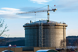 Constuction work at the new Ethane gas tank.<br /> INEOS Rafnes plant, in Norway, as part of an INEOS Media Trip.