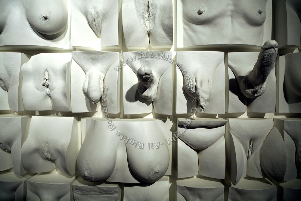 A sex sculture is on display at Amora, the Academy of Sex and Relationships, on Tuesday, April 17, 2007, in London, UK. The world's first visitor attraction dedicated to love, sex and relationships opens its door officially tomorrow (18th of April 2007) in Piccadilly. The permanent interactive attraction, Amora, expects to draw over half a million, 18+ visitors in the first year and fuses entertainment, excitement and education in a unique powerful sensory experience. With seven zones covering every aspect of relationships from first filtrations and dating to fantasy and fetish. Visitors can explore the science of attraction - what they find attractive and why, learn how to enhance their skills and even create what their perfect partner might look like. Male and female models help demystify erogenous zones, G-spot and prostate, while insights and technique tips are offered on various topics. Sexual awareness and well-being are also covered thoroughly. **Italy Out**..