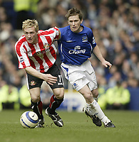Photo: Aidan Ellis.<br /> Everton v Sunderland. The Barclays Premiership. 01/04/2006.<br /> Sunderland's Liam Lawrence and Everton's Gary Naysmith