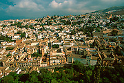 SPAIN, ANDALUSIA, GRANADA The Albaicin or ancient Moorish quarter of Granada, seen from the Alhambra Palace