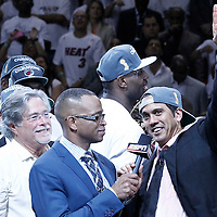 21 June 2012: Miami Heat head coach Erik Spoelstra celebrates after the Miami Heat 121-106 victory over the Oklahoma City Thunder, in Game 5 of the 2012 NBA Finals, at the AmericanAirlinesArena, Miami, Florida, USA. The Miami Heat wins the series 4-1.