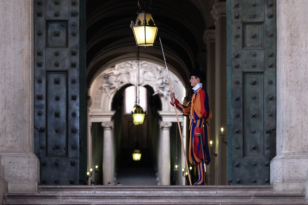 Swiss Guard posted at St. Peter's Basilica, Vatican City.