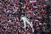 Poland, Wisla Malinka - 2017 November 19: Stefan Hula from Poland soars through the air while Men&rsquo;s Individual HS134 competition during FIS Ski Jumping World Cup Wisla 2017/2018 - Day 3 at jumping hill of Adam Malysz on November 19, 2017 in Wisla Malinka, Poland.<br /> <br /> Mandatory credit:<br /> Photo by &copy; Adam Nurkiewicz<br /> <br /> Adam Nurkiewicz declares that he has no rights to the image of people at the photographs of his authorship.<br /> <br /> Picture also available in RAW (NEF) or TIFF format on special request.<br /> <br /> Any editorial, commercial or promotional use requires written permission from the author of image.