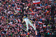 Poland, Wisla Malinka - 2017 November 19: Stefan Hula from Poland soars through the air while Men's Individual HS134 competition during FIS Ski Jumping World Cup Wisla 2017/2018 - Day 3 at jumping hill of Adam Malysz on November 19, 2017 in Wisla Malinka, Poland.<br /> <br /> Mandatory credit:<br /> Photo by © Adam Nurkiewicz<br /> <br /> Adam Nurkiewicz declares that he has no rights to the image of people at the photographs of his authorship.<br /> <br /> Picture also available in RAW (NEF) or TIFF format on special request.<br /> <br /> Any editorial, commercial or promotional use requires written permission from the author of image.