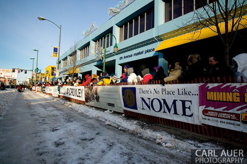 March 7th, 2009:  Anchorage, Alaska - People line 4th Avenue to watch the start of the 2009 Iditarod.