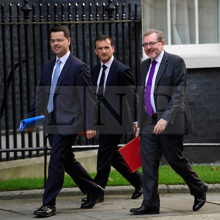 © Licensed to London News Pictures. 13/09/2016. London, UK.  British Northern Ireland Secretary James Brokenshire (L), British Wales Secretary Alun Cairns (C) and British Scotland Secretary David Mundell arrive at 10 Downing Street in London for cabinet meeting on September 13, 2016. Photo credit: Ben Cawthra/LNP
