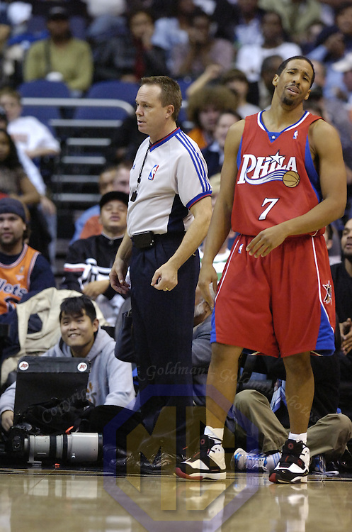 20 November 2007:   Philadelphia 76ers guard Andre Miller (7) reacts to referee Bill Spooners' (L) call during the game in action against the Washington Wizards at the Verizon Center in Washington, D.C.  The Wizards defeated the 76'ers for their 5th consecutive victory 116-101.