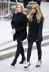 © Licensed to London News Pictures . 18/03/2016 . Manchester , UK . Jane Danson and Samia Ghadie arrive at the service. Television stars and members of the public attend the funeral of Coronation Street creator Tony Warren at Manchester Cathedral . Photo credit : Joel Goodman/LNP