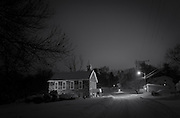 Mt. Gilboa AME church in snow at night, Oella, Maryland.