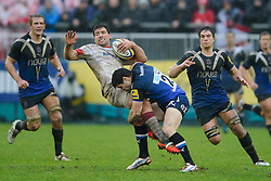 Saracens Hooker (#2) Schalk Brits is tackled by Bath replacement (#23) Dan Hipkiss during the second half of the match - Photo mandatory by-line: Rogan Thomson/JMP - Tel: Mobile: 07966 386802 22/12/2012 - SPORT - RUGBY - The Recreation Ground - Bath. Bath Rugby v Saracens - Aviva Premiership.
