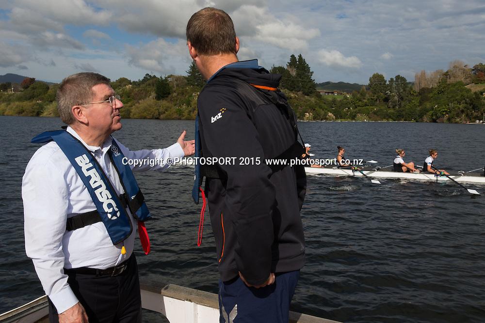 IOC president Thomas Bach and Mahe Drysdale on a barge at the Rowing NZ Media Day, Lake Karapiro, Cambridge, New Zealand, Wednesday 6 May 2015. Photo: Stephen Barker/Photosport.co.nz