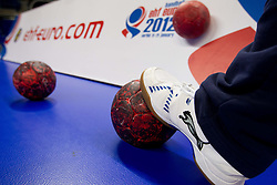 Balls during practice session of Slovenia national team 1 day before handball match against Macedonia for 5th place at 10th EHF European Handball Championship Serbia 2012, on January 26, 2012 in Beogradska Arena, Belgrade, Serbia.  (Photo By Vid Ponikvar / Sportida.com)