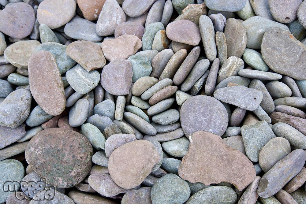 Close up of pebbles at a beach