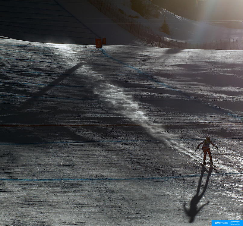 Winter Olympics, Vancouver, 2010.Andrea Dettling, Switzerland, in action in the Alpine Skiing Ladies Super Combined as the early morning sun starts to break through during competition at Whistler Creekside, Whistler, during the Vancouver Winter Olympics. 18th February 2010. Photo Tim Clayton