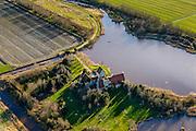 Nederland, Friesland, Gaasterland, 28-02-2016; <br /> Wielpolder, tussen Warns en Bakhuizen (Bakhuzen). Landhuis in quasi klassieke Friese stijl, toren met zadeldak. Buitendijks het vogelreservaat De Mokkebank.<br /> Quasi-classical mansion in Frisian style. <br /> <br /> luchtfoto (toeslag op standard tarieven);<br /> aerial photo (additional fee required);<br /> copyright foto/photo Siebe Swart