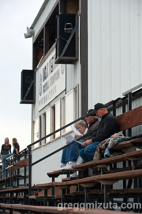 Mardene and Dr Robert Kevern, and Bill Jacobs arrive early for the Vale - Baker football game, September 26, 2014 at Frank Hawley Stadium, Vale, Oregon. Vale won 58-28 to improve its season record to 4-0.