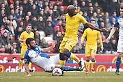 Blackburn Rovers Defender, Grant Hanley tackles Leeds United Forward, Souleymane Doukara during the Sky Bet Championship match between Blackburn Rovers and Leeds United at Ewood Park, Blackburn, England on 12 March 2016. Photo by Mark Pollitt.