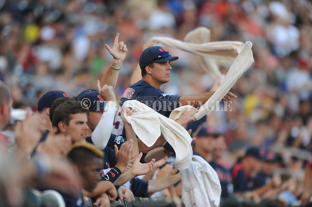 Mississippi's Colby Bortles (25) celebrates the Rbels first run in the third inning vs. TCU in the College World Series at T.D. Ameritrade Park in Omaha, Neb. on Thursday, June 19, 2014. Ole Miss won 6-4.