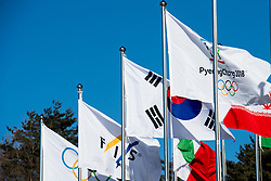 February 5, 2018 - Pyeongchang, SOUTH KOREA - 180205 Flags outside Alpensia Cross-Country Centre ahead of the 2018 Winter Olympics on February 5, 2018 in Pyeongchang..Photo: Jon Olav Nesvold / BILDBYRN / kod JE / 160137 (Credit Image: © Jon Olav Nesvold/Bildbyran via ZUMA Press)