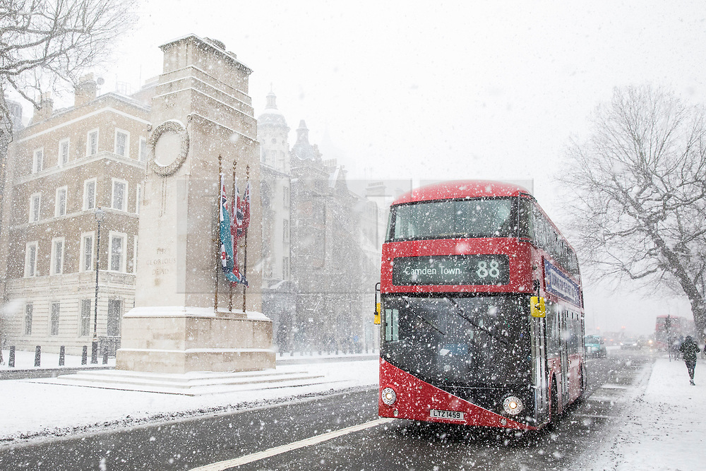© Licensed to London News Pictures. 28/02/2018. London, UK. A red Routemaster London bus passes the Cenotaph on Whitehall as heavy snow falls in central London. Severe weather is set to continue as the 'Beast from the East' brings freezing Siberian air to the UK. Photo credit: Rob Pinney/LNP