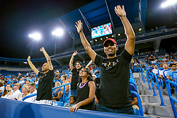 August 17, 2018 - Cincinnati, OH, U.S. - CINCINNATI, OH - AUGUST 17: Fans celebrate during a break in play during the Western & Southern Open at the Lindner Family Tennis Center in Mason, Ohio on August 17, 2018. (Photo by Adam Lacy/Icon Sportswire) (Credit Image: © Adam Lacy/Icon SMI via ZUMA Press)