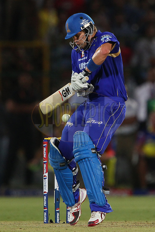Shane Watson deals with a bouncer from Chris Morris during match 61 of the Pepsi Indian Premier League ( IPL) 2013  between The Rajasthan Royals and the Chennai SUperkings held at the Sawai Mansingh Stadium in Jaipur on the 12th May 2013..Photo by Ron Gaunt-IPL-SPORTZPICS ..Use of this image is subject to the terms and conditions as outlined by the BCCI. These terms can be found by following this link:..http://www.sportzpics.co.za/image/I0000SoRagM2cIEc