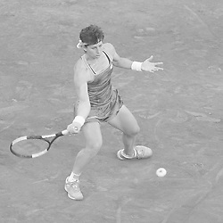 May 6, 2019 - Madrid, Spain - (EDITOR'S NOTE: Image was converted to black and white) Carla Suarez Navarro of Spain in her match against Viktoria Kuzmova of Slovakia during day three of the Mutua Madrid Open at La Caja Magica on May 06, 2019 in Madrid, Spain. (Credit Image: © Oscar Gonzalez/NurPhoto via ZUMA Press)