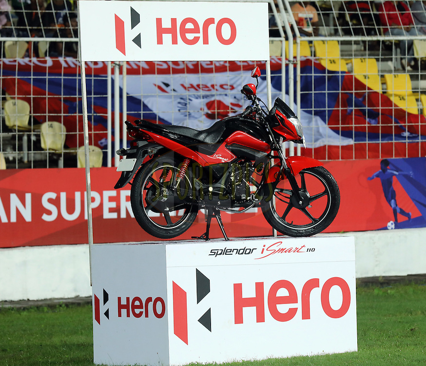 New Hero bike in display during match 8 of the Indian Super League (ISL) season 3 between FC Goa and FC Pune City held at the Fatorda Stadium in Goa, India on the 8th October 2016.<br /> <br /> Photo by Sandeep Shetty / ISL/ SPORTZPICS