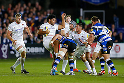 Saracens Number 8 Billy Vunipola is tackled by Bath Lock Dave Attwood - Photo mandatory by-line: Rogan Thomson/JMP - 07966 386802 - 03/10/2014 - SPORT - RUGBY UNION - Bath, England - The Recreation Ground - Bath Rugby v Saracens - Aviva Premiership.