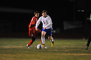 Oxford High's William Mayo (5) vs. Lafayette High in boys high school soccer action at Bobby Holcomb Field in Oxford, Miss. on Monday, December 10, 2012. Oxford won 8-0.