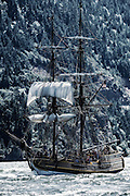USA, Oregon, Hood River,  Lady Washington of the Grays Harbor Historical Seaport Authority.