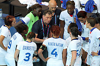 LONDON OLYMPIC GAMES 2012 - COPPER BOX , LONDON (ENG) - 28/07/2012 - PHOTO : POOL / KMSP / DPPI<br /> HANDBALL WOMEN - PRELIMINARY ROUND - NORWAY VS FRANCE - OLIVIER KRUMBHOLZ (FRENCH COACH) WITH HIS PLAYERS