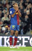 Thierry Henry (Barcelona)  celebrates rues missing an easy opportunity during the 6-0 win. Barcelona v Malaga (6-0) La Liga 22/03/09.