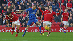 Marcus Maddison of Peterborough United in action with Kenny Dougall and Cameron McGeehan of Barnsley - Mandatory by-line: Joe Dent/JMP - 26/12/2018 - FOOTBALL - Oakwell Stadium - Barnsley, England - Barnsley v Peterborough United - Sky Bet League One